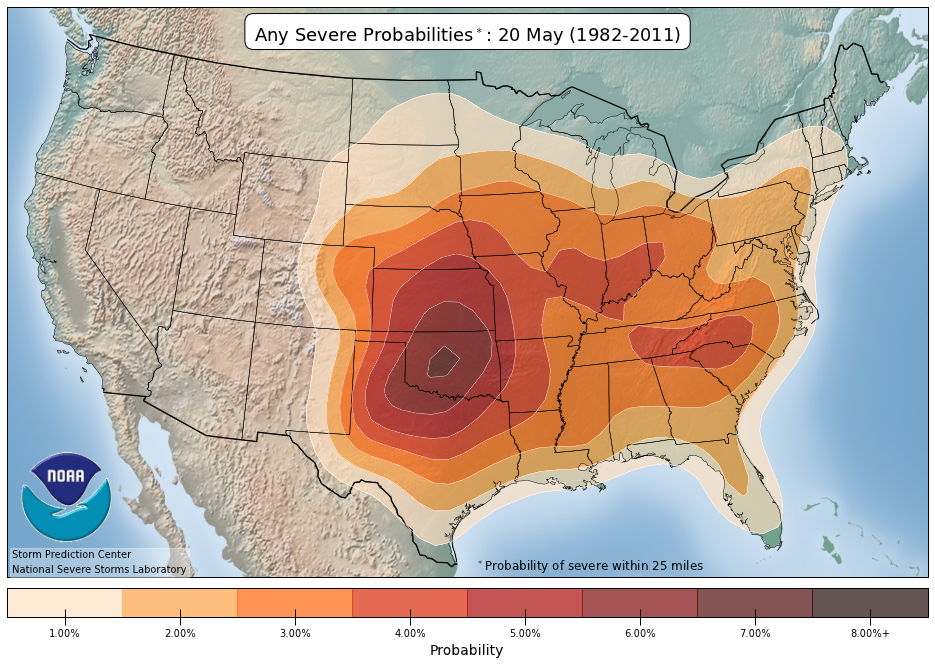 NOAANWS Storm Prediction Center - Average us tornado map national weather service